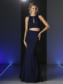 CD-CF080 Two Piece Mermaid Prom Evening Dress, Navy