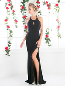 CD-CF086 Halter Evening Dress with Sequins, Black