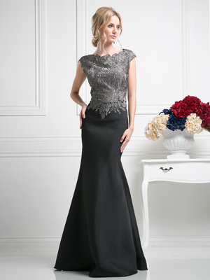 CD-CF192 Cap Sleeve Trumpet Evening Gown with Lace Appliqued, Black