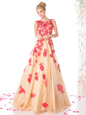 CD-CF193 Sleeveless Full Ball Gown, Red Nude