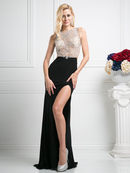 CD-CF201 Open Back Illusion Evening Dress with Slit, Black