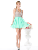 CD-CF202 Sleeveless V-Neck Short Prom Dress , Mint