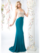 CD-CF301 Sleeveless Illusion Embellished Evening Dress , Teal