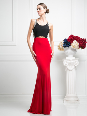 CD-CF302 Sleeveless Evening Dress with Sweeping Train, Black Red