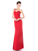 CD-CF525 Illusion Sweetheart Evening Dress with Sheer Back, Red