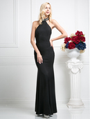 CD-CF526 Jewel Halter Evening Dress with Sheer Back, Black