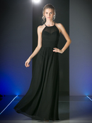 CD-CH1501 Halter Overlay Bridesmaid Dress, Black