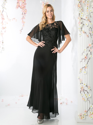 CD-CH1506 Sheer Sleeves Lace Appliqued Mother of the Brides Dress, Black