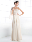 CD-CH1507 Mother of the Bride Evening Dress with Ruffle Jacket, Champagne