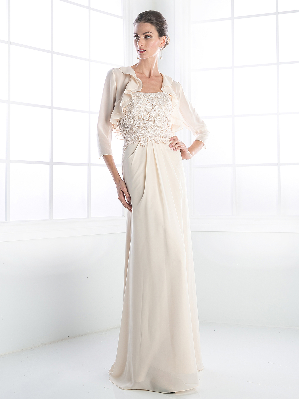 mother of the bride evening dress with ruffle jacket