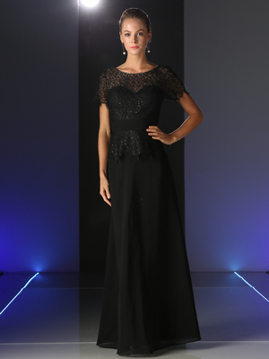 CD-CH1511 Short Sleeve Lace Overlay Mother of the Bride Dress, Black