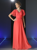 CD-CH1513 V-neck Evening Dress with Pleated Bodice, Coral
