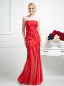 CD-CH21 Floral Embrodiery Long Evening Dress, Red