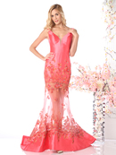 CD-CH22 Sleeveless V-Neck Evening Dress with Sheer Skirt, Coral