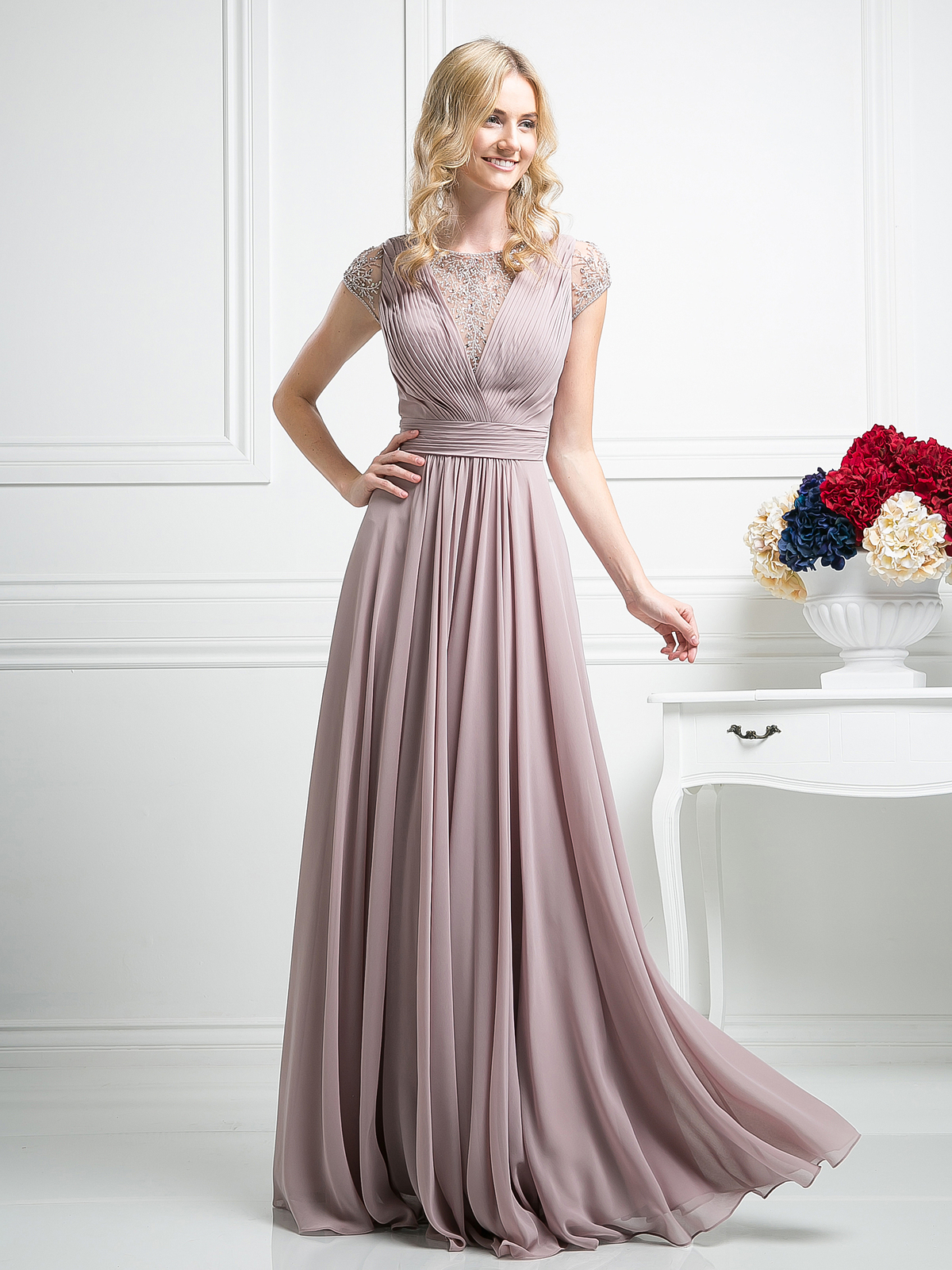 Pleated Bodice Evening Dress with Cap Sleeve | Sung Boutique L.A.