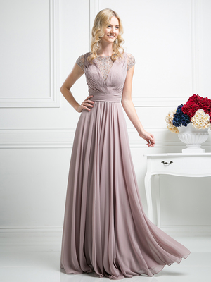 CD-CJ108 Pleated Bodice Evening Dress with Cap Sleeve, Mauve