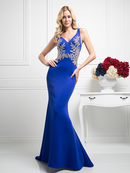CD-CJ110 Sleeveless V-Neck Trumpet Evening Gown, Royal