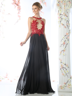 CD-CJ111 Illusion Evening Dress with Floral Applique, Red Black