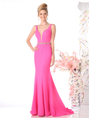CD-CJ201 Sleeveless Belted Trumpet Prom Evening Couture, Hot Pink