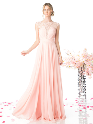 CD-CJ207 Ruched Bodice Lace Overlay Evening Dress, Blush