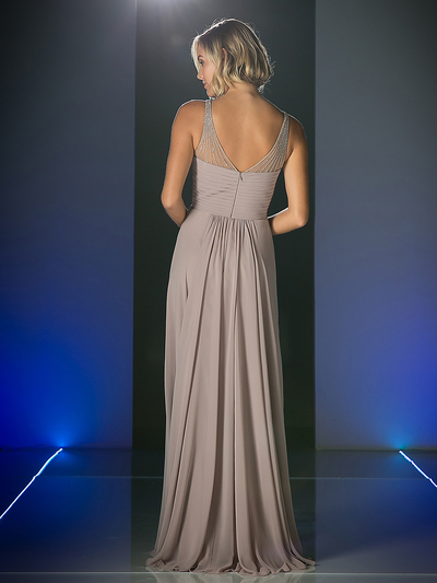 CD-CJ214 Sweetheart Neckline Evening Dress with Beaded Shoulder Straps - Marble, Back View Medium