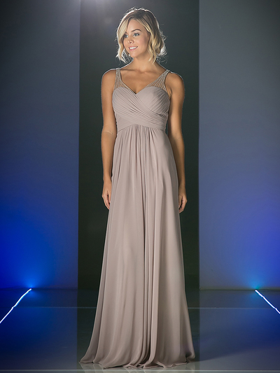 CD-CJ214 Sweetheart Neckline Evening Dress with Beaded Shoulder Straps - Marble, Front View Medium