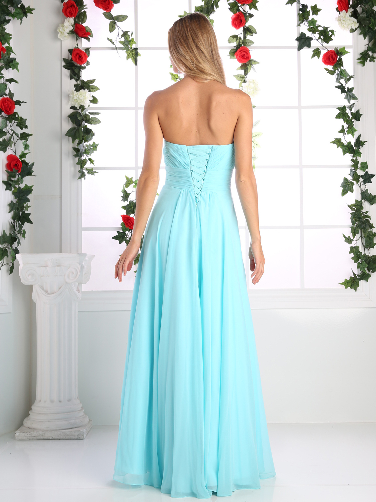 89c109711c9 ... CD-CJ216 Ruched Sweetheart Bridesmaid Dress with Floral Accent - Aqua