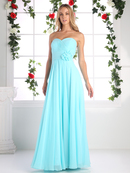 CD-CJ216 Ruched Sweetheart Bridesmaid Dress with Floral Accent, Aqua