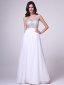 CD-CJ90 Illusion Beaded Evening Dress, Off White