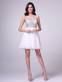 CD-CJ90S Illusion Jeweled Bodice Homecoming Dress - Off White, Front View Thumbnail