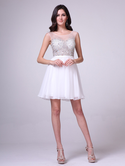CD-CJ90S Illusion Jeweled Bodice Homecoming Dress - Off White, Front View Medium