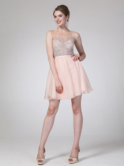 CD-CJ90S Illusion Jeweled Bodice Homecoming Dress - Peach, Front View Medium