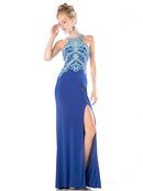 CD-CK10 Halter Beaded Prom Gown with Train, Royal