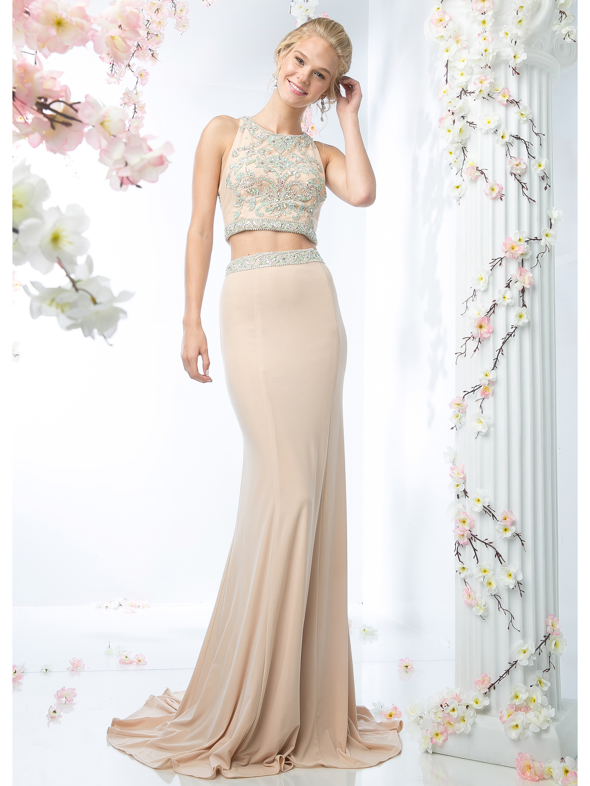 Two Piece Prom Dress with Train | Sung Boutique L.A.