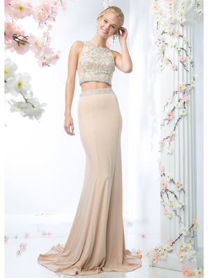 CD-CK11 Two Piece Prom Dress with Train, Champagne