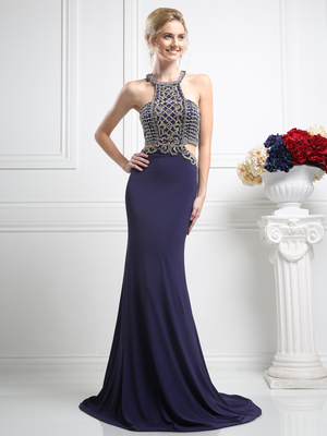 CD-CK12 Embellished Halter Prom Evening Dress with Cut Out, Eggplant