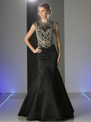CD-CK21 Cap Sleeve Trumpet Prom Evening Gown with Cut Out Back, Black