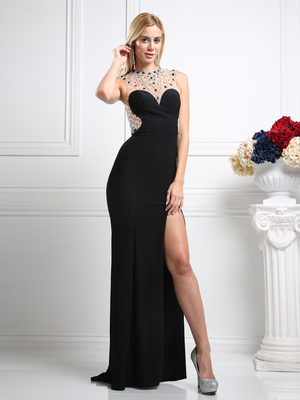 CD-CK24 Sweetheart Floor Length Evening Dress with Beaded Neckline, Black