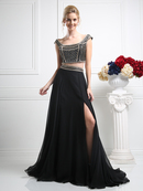CD-CK27 Two Piece Off The Shoulder Evening Dress with Slit, Black