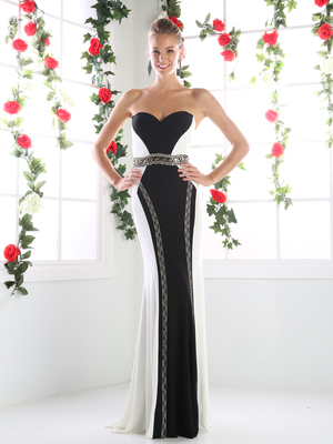 CD-CK30 Timeless Sweetheart Form Fitted Two Tone Evening Dress, Black White