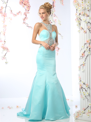 CD-CK31 Embellished Halter Prom Evening Dress with Mermaid Skirt, Aqua