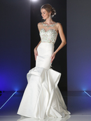 CD-CK46 Illusion Sweetheart Bridal Gown with Tiered Trumpet Skirt, White