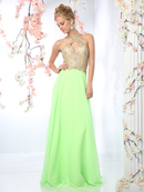 CD-CK51 Halter Beaded Top Prom Dress, Lime