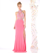 CD-CK60 Illusion Evening Dress with Cut Out Back, Fuchsia