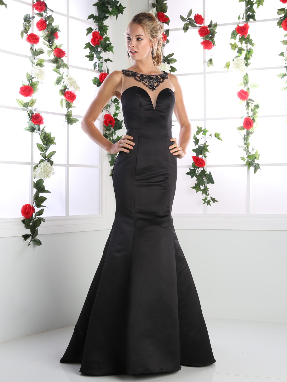 Cd Ck62 Illusion Mermaid Prom Evening Gown With Sheer Back Black Front View