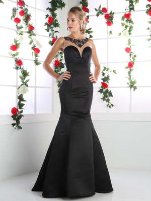 CD-CK62 Illusion Mermaid Prom Evening Gown with Sheer Back, Black