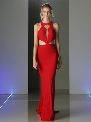 CD-CK66 High Neck Long Evening Dress, Red