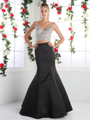 CD-CK68 Two Piece V-Neck Prom Evening Dress with Trumpet Skirt, Black