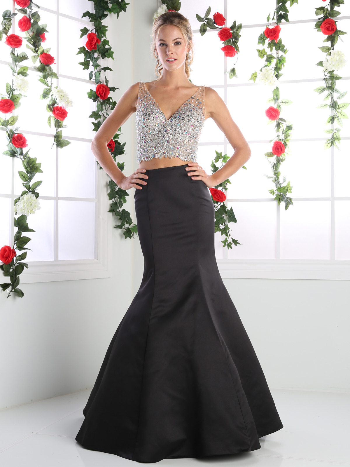 Two Piece V Neck Prom Evening Dress With Trumpet Skirt
