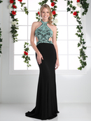 CD-CK71 Halter Gown with Open Back, Black
